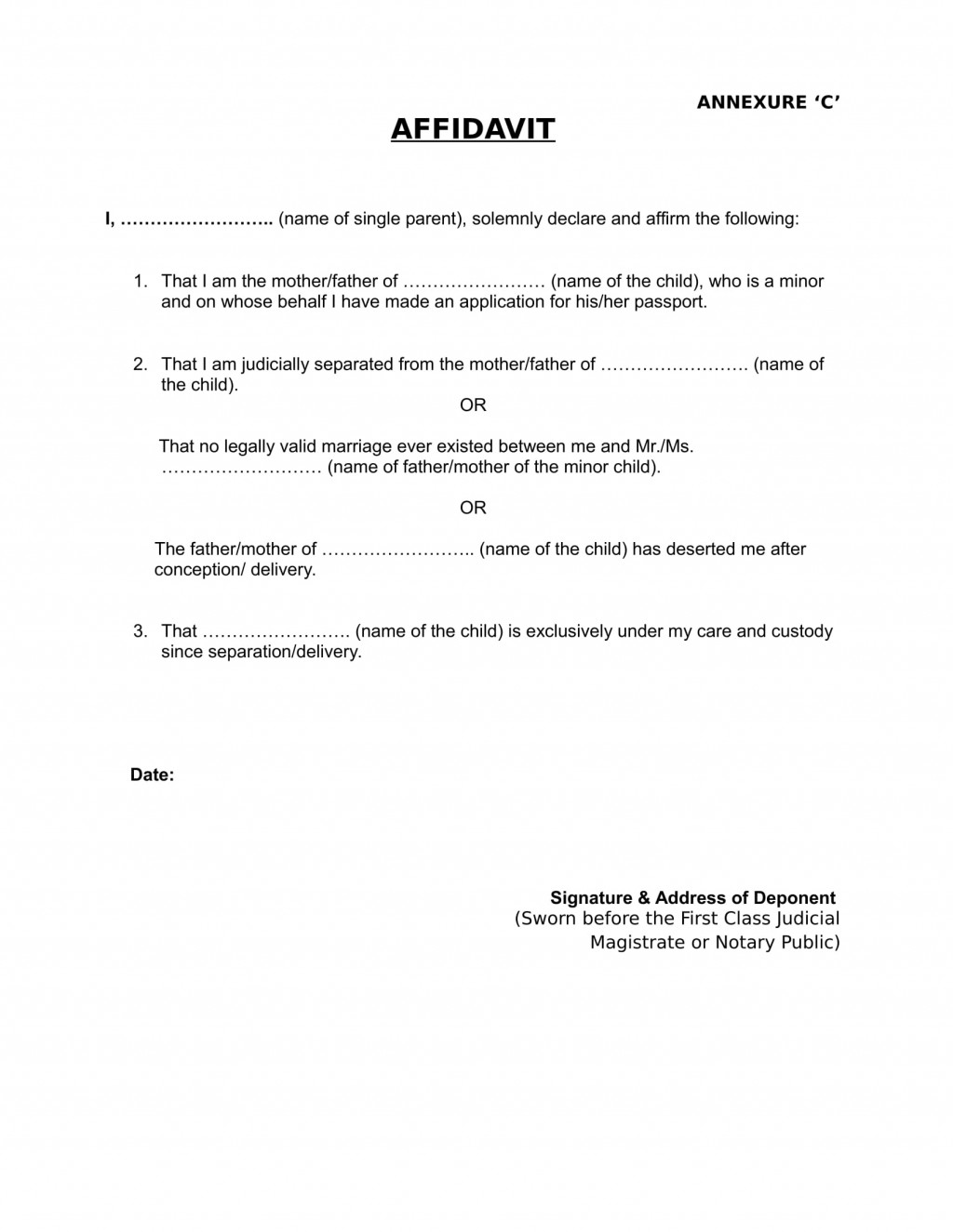 Child support agreement letter template