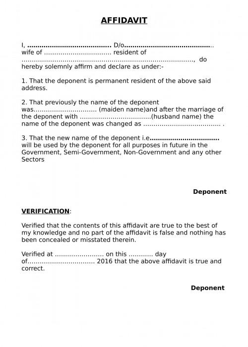 change of name after marriage affidavit