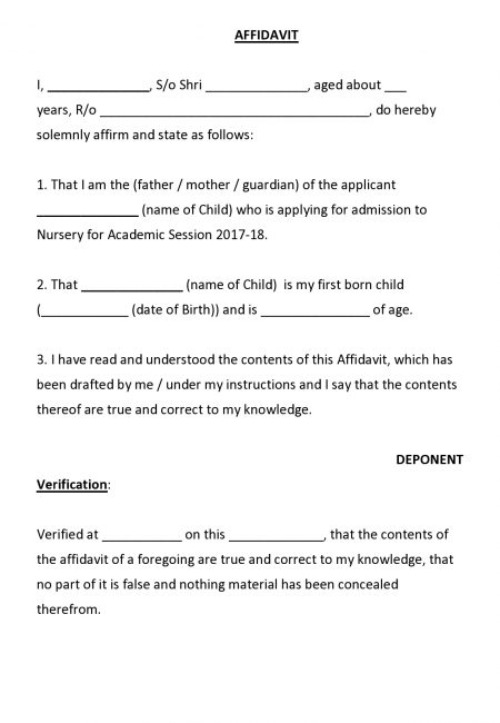 Affidavit for First Born Child