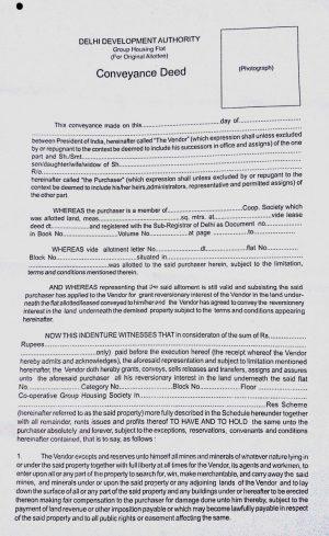 Sample of Conveyance Deed (DDA)