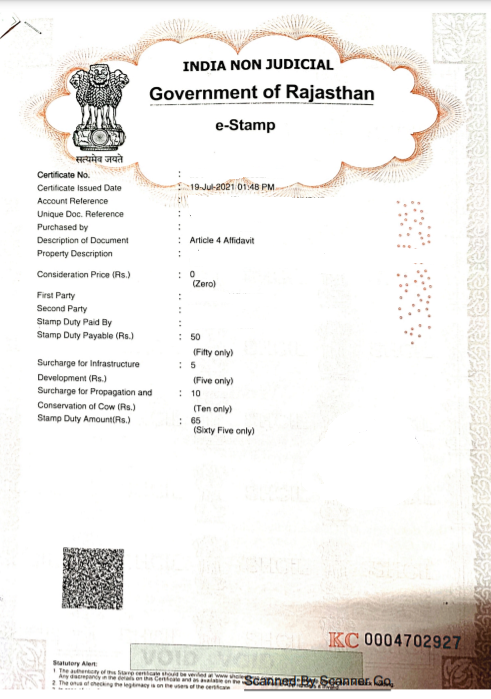 E-STAMP OF RAJASTHAN